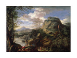 Mountain Landscape with Figures and a Man Bathing Giclée-tryk af Salvator Rosa