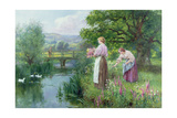 Girls Collecting Flowers Giclee Print by Henry John Yeend King