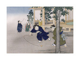 Spinning Top and Blowing Bubbles from the Series 'Children's Games', 1888 Giclee Print by Kobayashi Eitaku