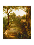 An Artist Within the Ruins of an Italian Garden Giclee Print by Charles De Chatillon