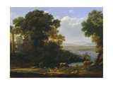 Classical River Scene with a View of a Town Giclee Print by Claude Lorrain
