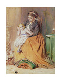 """Tick, Tick, Tick"" - a Girl Sitting on Her Mother's Lap Listening to Her Gold Watch Ticking, 1867 Giclee Print by George Elgar Hicks"