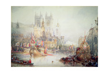 Lord Mayor's Barge at Westminster, 1830 Giclee Print by David Roberts