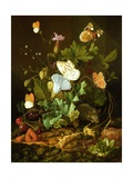 Still Life of a Forest Floor with Flowers, a Mouse and Butterflies Giclee Print by Elias Van Den Broeck