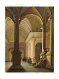 Palatial Interior at Night, with an Elegant Couple Making their Entrance Giclee Print by Anthonie de Lorme