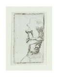 Head of a Man in a High Cap Giclee Print by  Rembrandt van Rijn