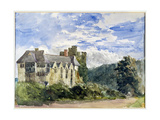 Stokesay Castle and Abbey Giclee Print by David Cox