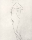 Standing Nude Girl Looking Up Photographic Print by Gustav Klimt