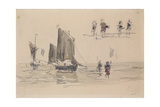 Boats and Fishermen Giclee Print by Eugene Louis Boudin