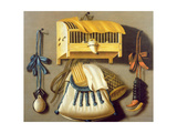 Trompe L'Oeil of Hunting Equipment and a Bird Cage Giclee Print by Johannes Leemans