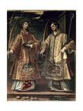 St. Lawrence and St. Stephen, 1580 Reproduction procédé giclée par Alonso Sanchez Coello