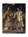 St. Lawrence and St. Stephen, 1580 Giclee Print by Alonso Sanchez Coello