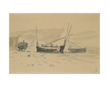 Small Beached Boats Giclee Print by Eugène Boudin