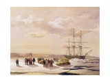 Sledge Party Leaving H.M.S. Investigator in Mercy Bay under the Command of Lieutenant S. Gurney… Giclee Print by Samuel Gurney Cresswell