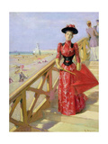 Woman Walking Down Steps on to a Beach Giclee Print by Albert Lynch
