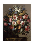 Still Life of Flowers in a Glass Vase Giclee Print by Juan De Arellano