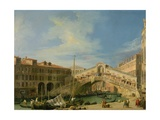 View of the Rialto at Venice (View of the Rialto Bridge from the South) Giclee Print by  Canaletto