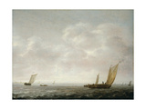 Wijdships Offshore Running in a Stiff Breeze on a Cloudy Day Giclee Print by Simon Jacobsz. Vlieger