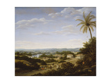 Brazilian Landscape with Natives on a Road Approaching a Village, 1665 Giclee Print by Frans Jansz Post