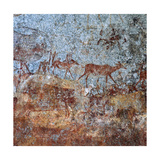 Rock Painting with People and Animals Giclee Print