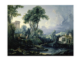 Landscape with Water Mill, 1743 Giclee Print by Francois Boucher