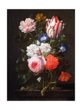 Still Life of Roses, a Carnation, Convolvulus and a Tulip in a Glass Vase Giclee Print by Nicolaes van Veerendael