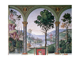 Background Landscape Seen Through the Loggia, Detail from 'Aeneas Sylvius Piccolomini (1405-64)… Giclee Print by Bernardino di Betto Pinturicchio