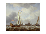 Dutch States Yacht Sailing in a Light Breeze on Choppy Seas, with a Kaag Nearby and Other… Giclée-Druck von Willem Van De, The Younger Velde