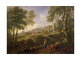 Classical Landscape with Figures and Ruins Giclee Print by Jan Frans van Bloemen