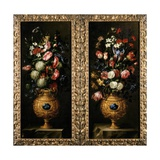 Juan De Arellano - Pair of Still Lives of Flowers in Decorative Gold Vases with Lapiz Cartouches - Giclee Baskı