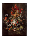 Two Vases of Flowers Giclee Print by Jean-Baptiste Monnoyer