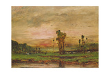 Evening Landscape with a Herd of Cattle Near Jouy-En-Josas, 1881 Giclee Print by Mihaly Munkacsy