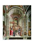 Aeneas Sylvius Piccolomini (1405-64), Elected Pope with the Name of Pius II, Enters St. Peter's,… Giclee Print by Bernardino di Betto Pinturicchio