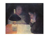 Reading under the Lamp, 1890 Giclee Print by Leon Pourtau