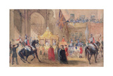 The Lord Mayor Standing Ready to Greet Queen Victoria (1819-1901) at Temple Bar in 1837 Giclee Print by Henry Warren