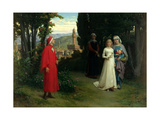 First Meeting of Dante and Beatrice, 1877 Gicléetryck av Raffaelle Gianetti