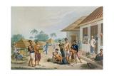View of the Bazaar at Coupang, Timor, from 'Voyage Autour Du Monde Sur Les Corvettes De L'Uranie… Giclee Print by Alphonse Pellion