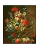 Flower Still Life with Bird Nest Giclee Print by Ottmar the Elder Elliger
