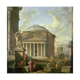 View of the Pantheon, the Farnese Hercules and Other Roman Ruins Giclee Print by Giovanni Paolo Panini