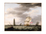A Man of War Passing the Eddystone Lighthouse, C.1773 Giclee Print by Francis Holman