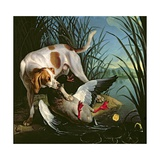 Dog with a Wild Duck Giclee Print by Jean-Baptiste Oudry