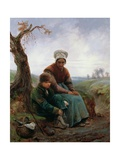 Peasant Woman and Boy, 1846 Giclee Print by Adolphe-felix Cals