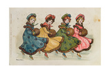 Four Young Girls with Muffs Giclee Print by Florence Hardy