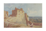 Figures on the Ramparts at Domfront Giclee Print by John Sell Cotman