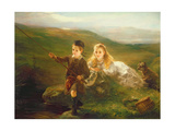 Two Children Fishing in Scotland Giclee Print by Otto Leyde