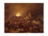 Fire in a Village at Night, 1655 Giclee Print by Egbert van der Poel