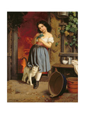 A Young Girl with a Cat, 1866 Giclee Print by Karl Nahl