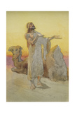 Study of an Arab Praying in the Desert with His Camel Giclee Print by Carl Haag