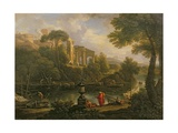Landscape with Figures by a Pool with Ruins in the Background Giclee Print by Jan Frans van Bloemen