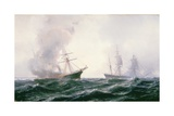 A Ship on Fire at Sea, with Another Standing by Giclee Print by Jean Baptiste Henri Durand-Brager